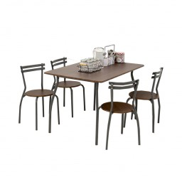 REEDER WALNUT DINING SET 4 CHAIRS