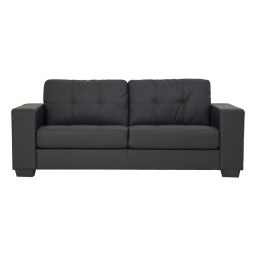 FINLEY SOFA 3 SEATER (PVC) BLACK