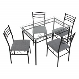 GDF HESTER GLASS LMKZ DINING SET 4 CHAIRS WENGE
